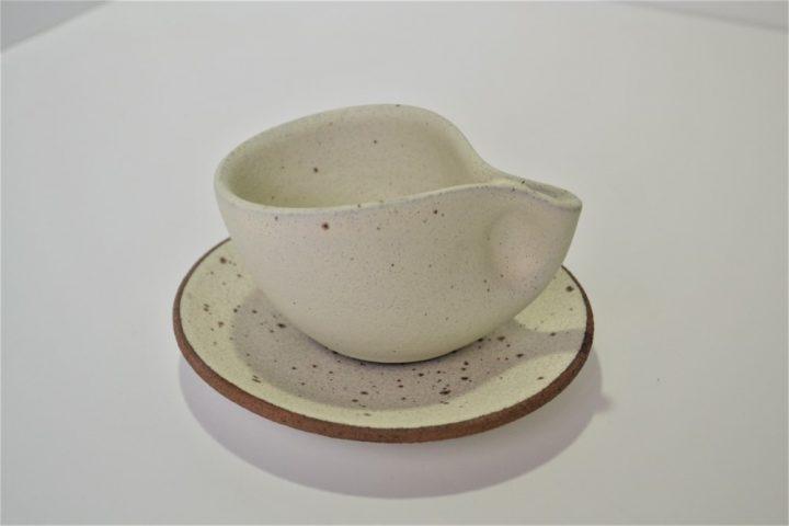 Minimal Espresso Cup & Saucer Cream ceramic