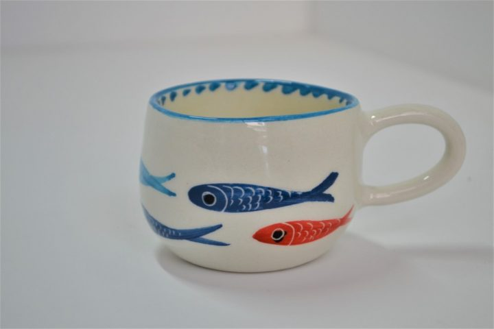 Short Uneven Cup Thin Fish ceramic