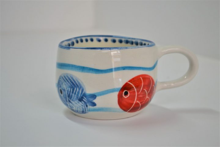 Short Uneven Cup Fish In Waves ceramic