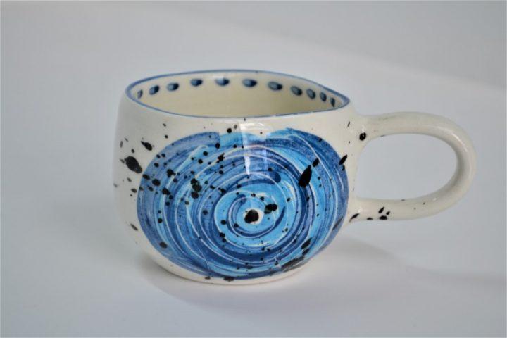 Short Uneven Cup Artistic Brush Strokes ceramic