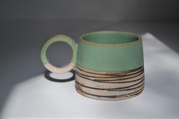 Lined Mug Sumatra Green/Grey ceramic