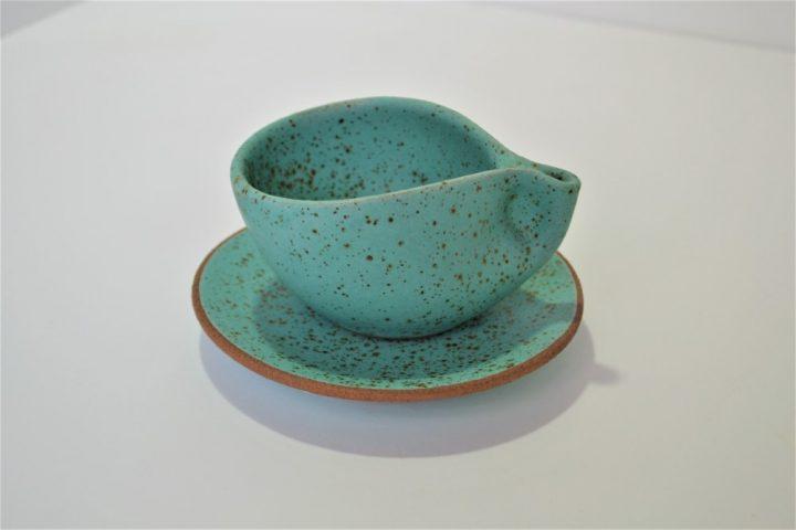 Minimal Espresso Cup & Saucer Turquoise Blue with Specks ceramic