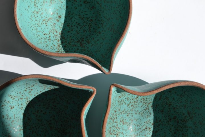 Nest Bowls 'L' & 'M' Turquoise Blue with Specks ceramic