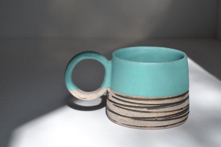 Lined Mug Turquoise Blue/Grey ceramic