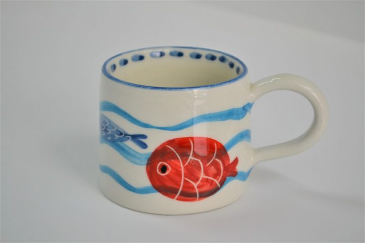 Short Conical Cup Fish In Waves ceramic