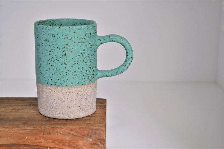 Cylinder Cup Turquoise Blue With Specks/Grey ceramic