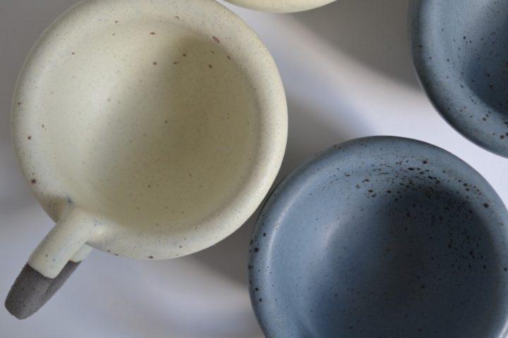 Thick Espresso Cup Indigo With Specks & Cream ceramic