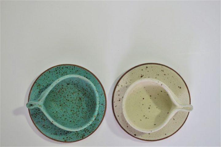 Minimal Espresso Cup & Saucer, Cream & Turquoise Blue with Specks ceramic