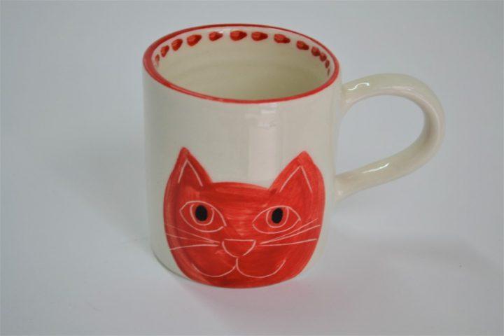 Κουπάκι Ίσιο Γάτα Κεφάλι Κόκκινη