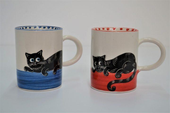 Cylinder Mug Black Cat in Blue & Black Cat in Red ceramic