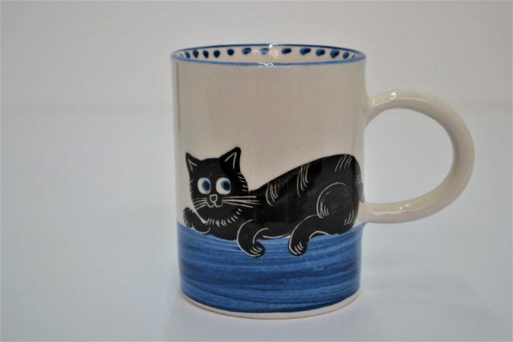 Cylinder Mug Black Cat in Blue ceramic