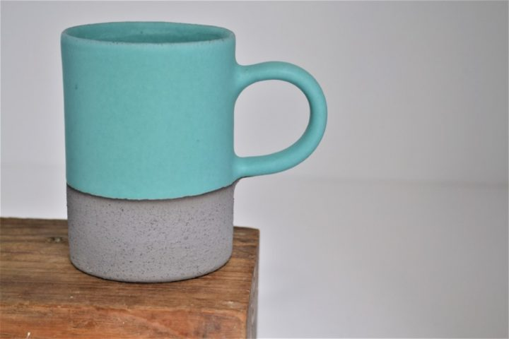 Cylinder Cup Turquoise Blue/Anthracite ceramic