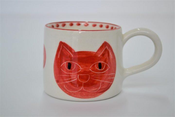 Short Conical Cup Red Cat Head ceramic