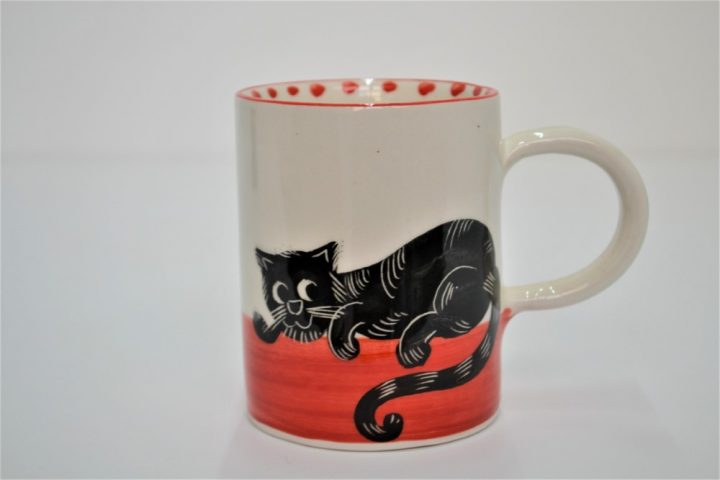 Cylinder Mug Black Cat in Red ceramic