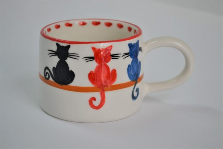 Short Conical Cup 3 Cats ceramic