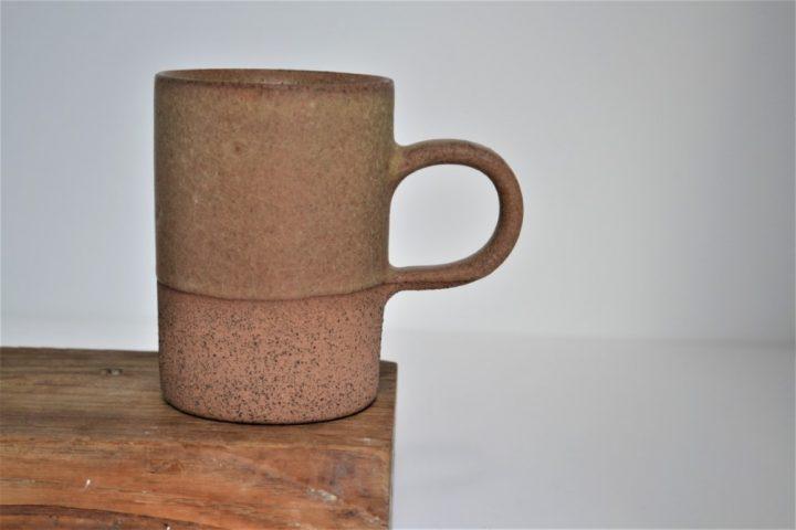 Cylinder Cup Almond Brown/Brown ceramic