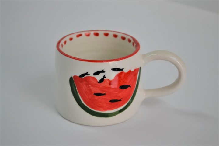 Short Conical Cup Water Melon ceramic