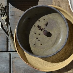 Shallow Bowl Olive Green & Almond Brown ceramic