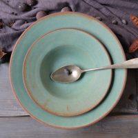 Pasta Plate 'L' & 'M' Rusty Green ceramic