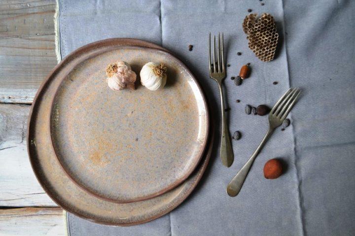 Dinner Plate & Medium Dinner Plate Glossy Stone On Brown ceramic