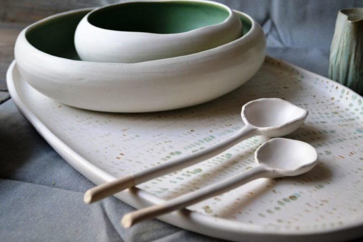Oval Platter Green Spots