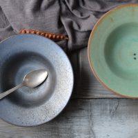 Pasta Plate 'M' Bronze Metallic & Honey ceramic