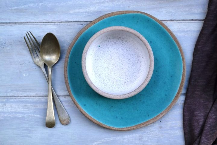 Medium Dinner Plate Coral Blue ceramic