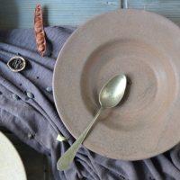 Pasta Plate 'L' Almond Brown ceramic