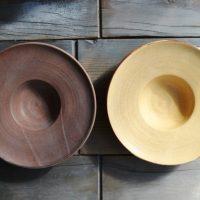 Hat Plate Mustard Yellow & Brown ceramic