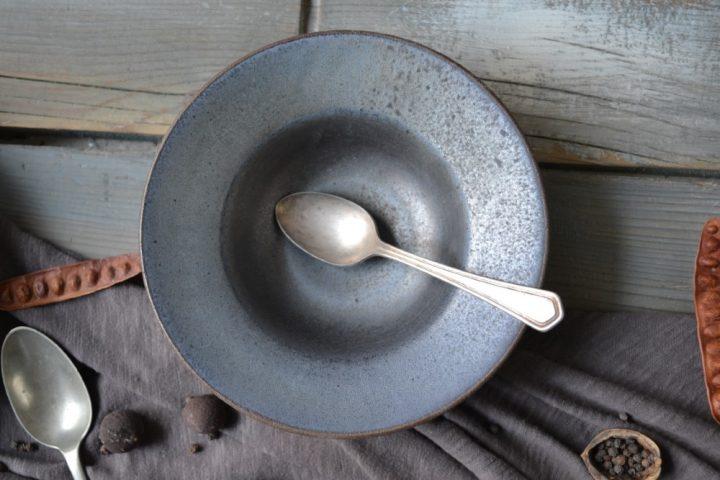 Pasta Plate 'L' Bronze Metallic ceramic