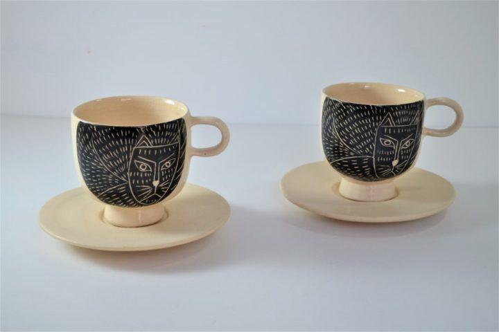 Cat Cup & Saucer ceramic