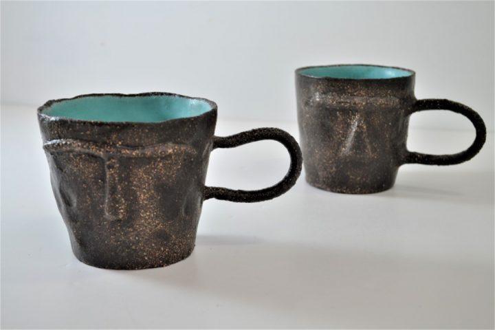 Face Mug Turquoise Blue ceramic