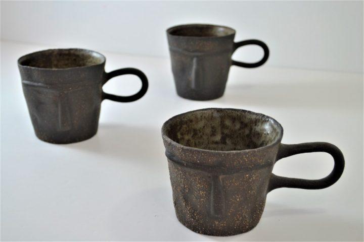 Face Mug Blue Grey ceramic