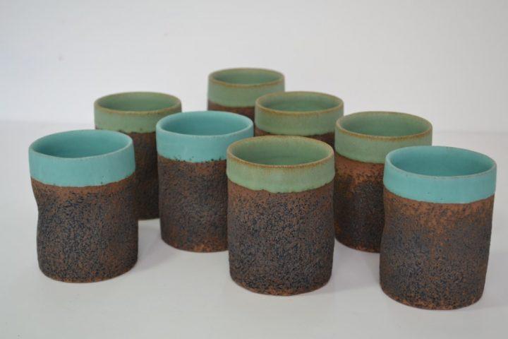 Sponge Tumbler Sumatra Green & Turquoise Blue ceramic