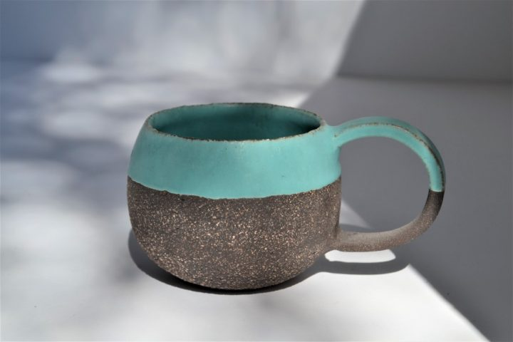 Round Cup Turquoise Blue ceramic