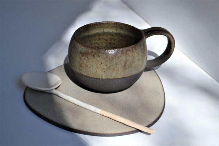 Round Cup Blue Grey ceramic